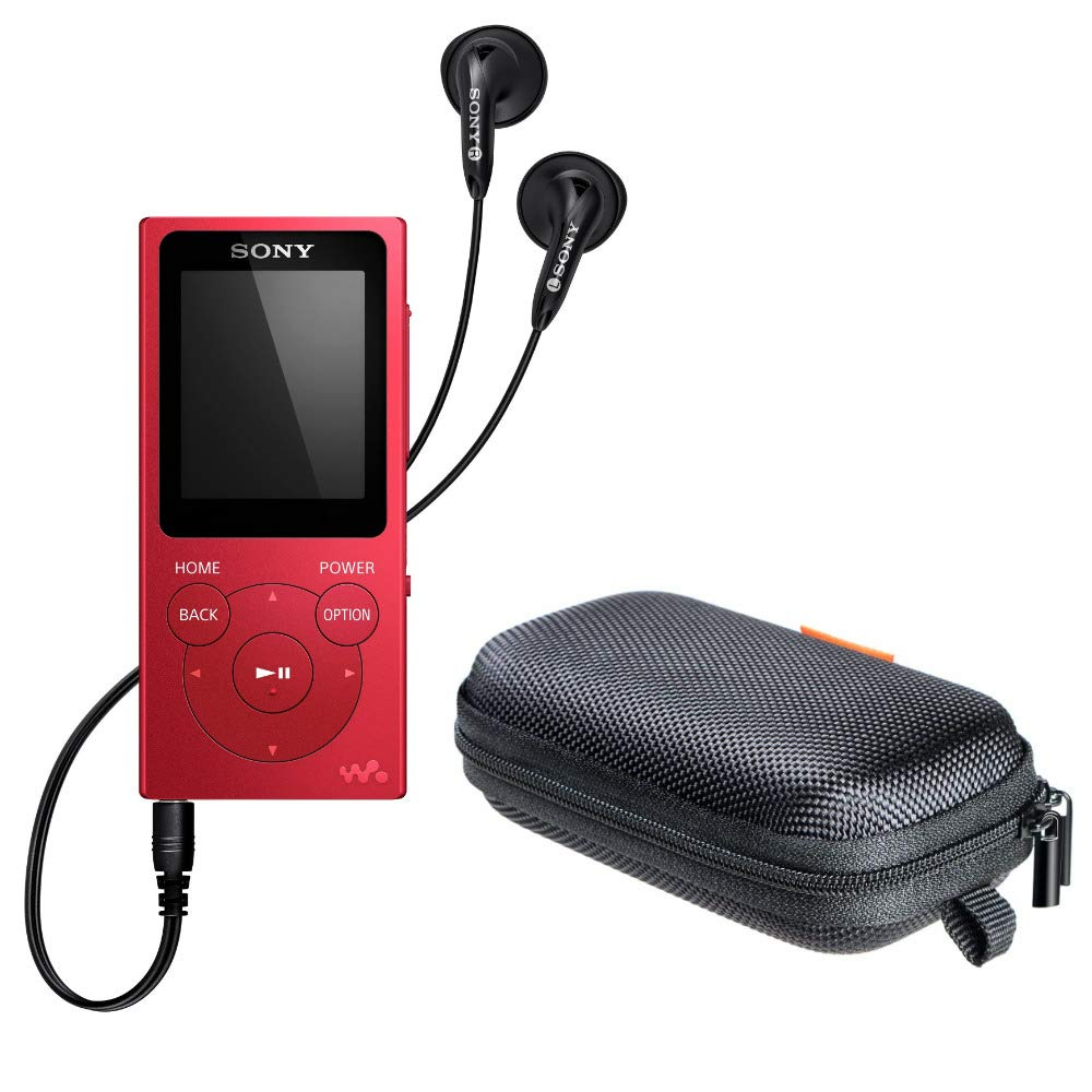 Sony NWE394/R 8GB Walkman MP3 Player (Red) with Hard Carrying case Bundle