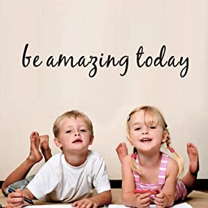 BUCKOO Be Amazing Today Inspirational Quote Wall Decal, Detachable Motivational Lettering Vinyl Wall Sticker Office Quotes Wall Decal Home Wall Decor