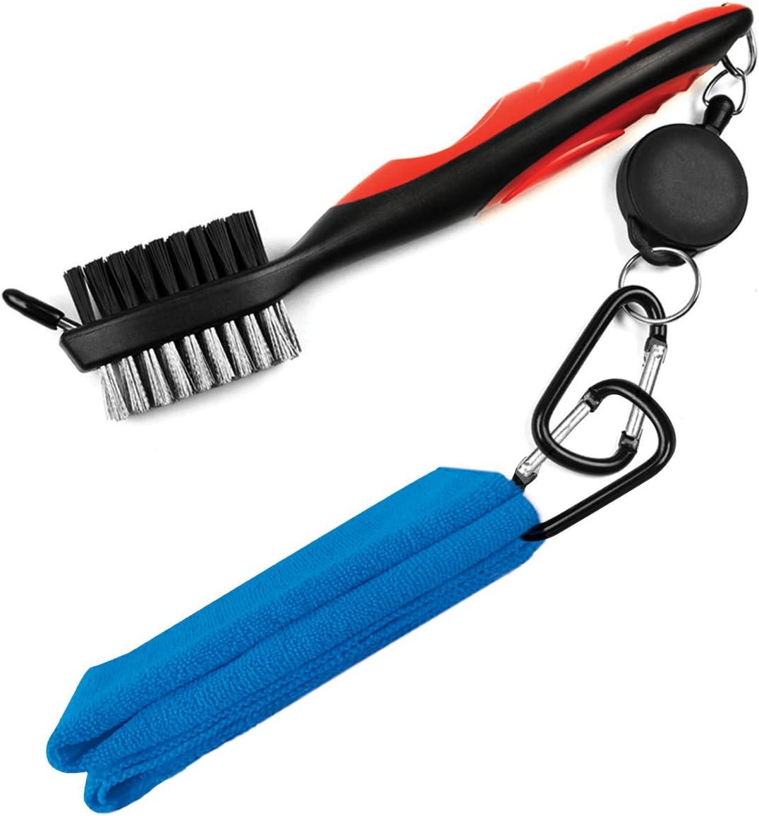 LeRan - Kit de limpieza para palos de golf, formado por cepillo retráctil y juego de toallas de microfibra 2en 1, con mosquetón de aluminio