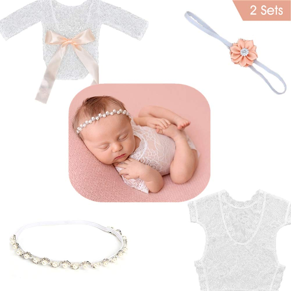 SPOKKI Newborn Baby Lace Rompers Photography Props 2 Sets with Ribbon Pearl Headband Classic Outfits for Infant Boy Girl Princess Twins (0-6 Month) (B) by SPOKKI