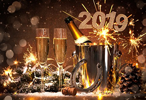 Leyiyi 7x5ft Happy New Year Backdrop Firework Champagne Glasses Horseshoes Metal Bucket Pine Nut 2019 Eve Winter Banquet Set Photography Background Merry Christmas Photo Studio Prop Vinyl Wallpaper