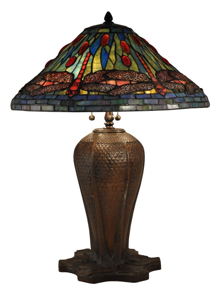 Dale Tiffany Tt15107 Three Light Table Lamp Antique Bronze Finish