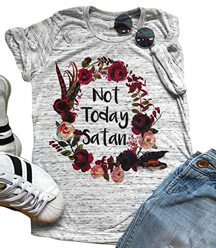 Women Not Today Satan T-Shirt Casual Short Sleeve Tops Tee (Large)