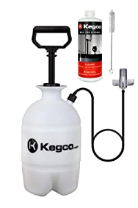 Kegco Deluxe Hand Pump Pressurized Keg Beer Cleaning Kit w/32 oz. Cleaner