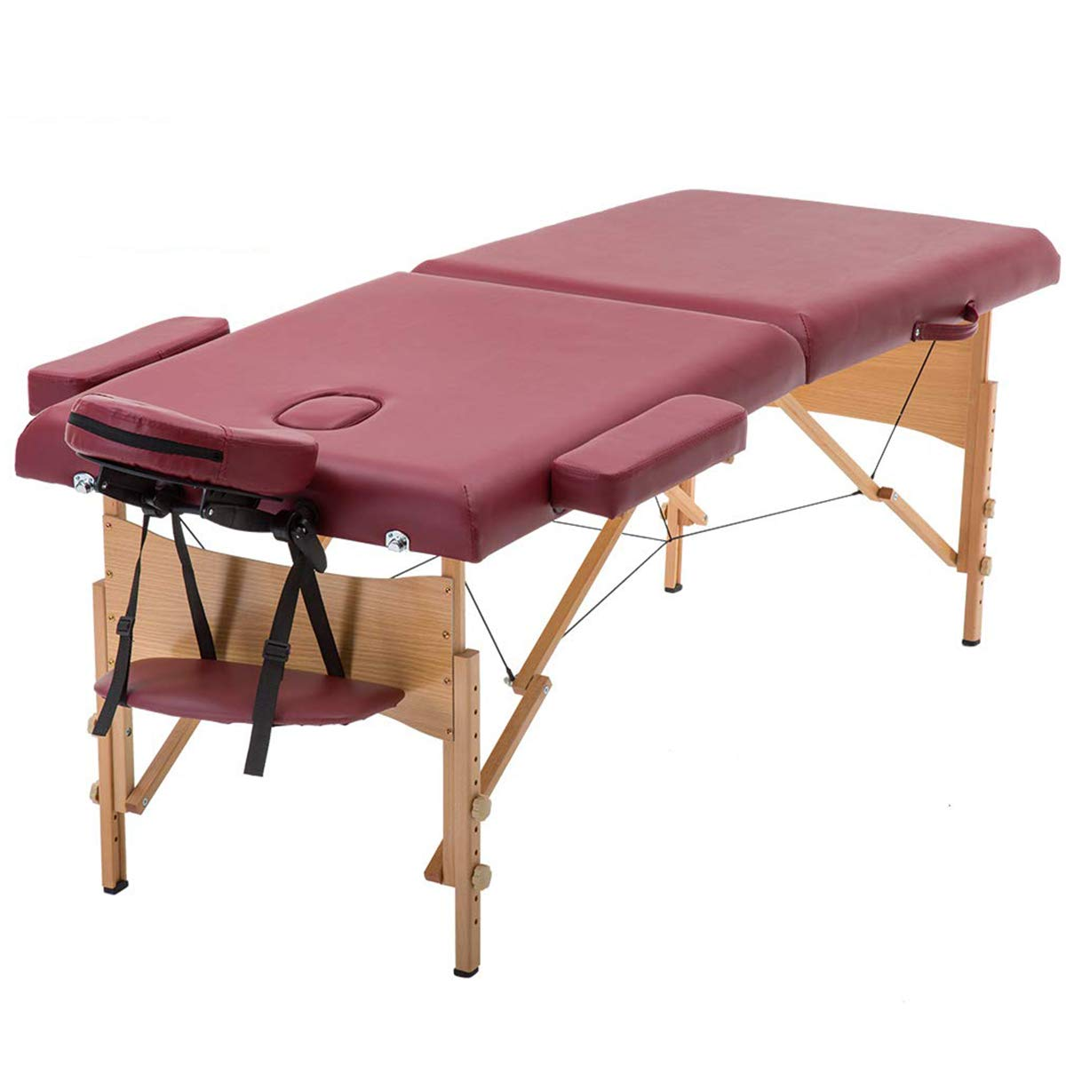 Massage Table Portable Massage Bed Spa Bed Hight Adjustable Massage Table Folding Facial Cradle Salon Bed,Burgundy by CYQAQ