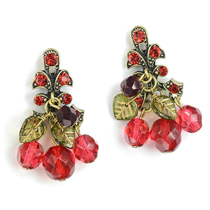 Vintage Style Jewelry, Retro Jewelry Sweet Romance Retro Red Cherries Pin Up Cherry Earrings $39.00 AT vintagedancer.com