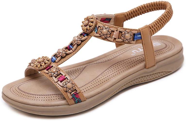 Sandalen Damen Sommer Schuhe Bequem Flach Sandaletten Gr.36