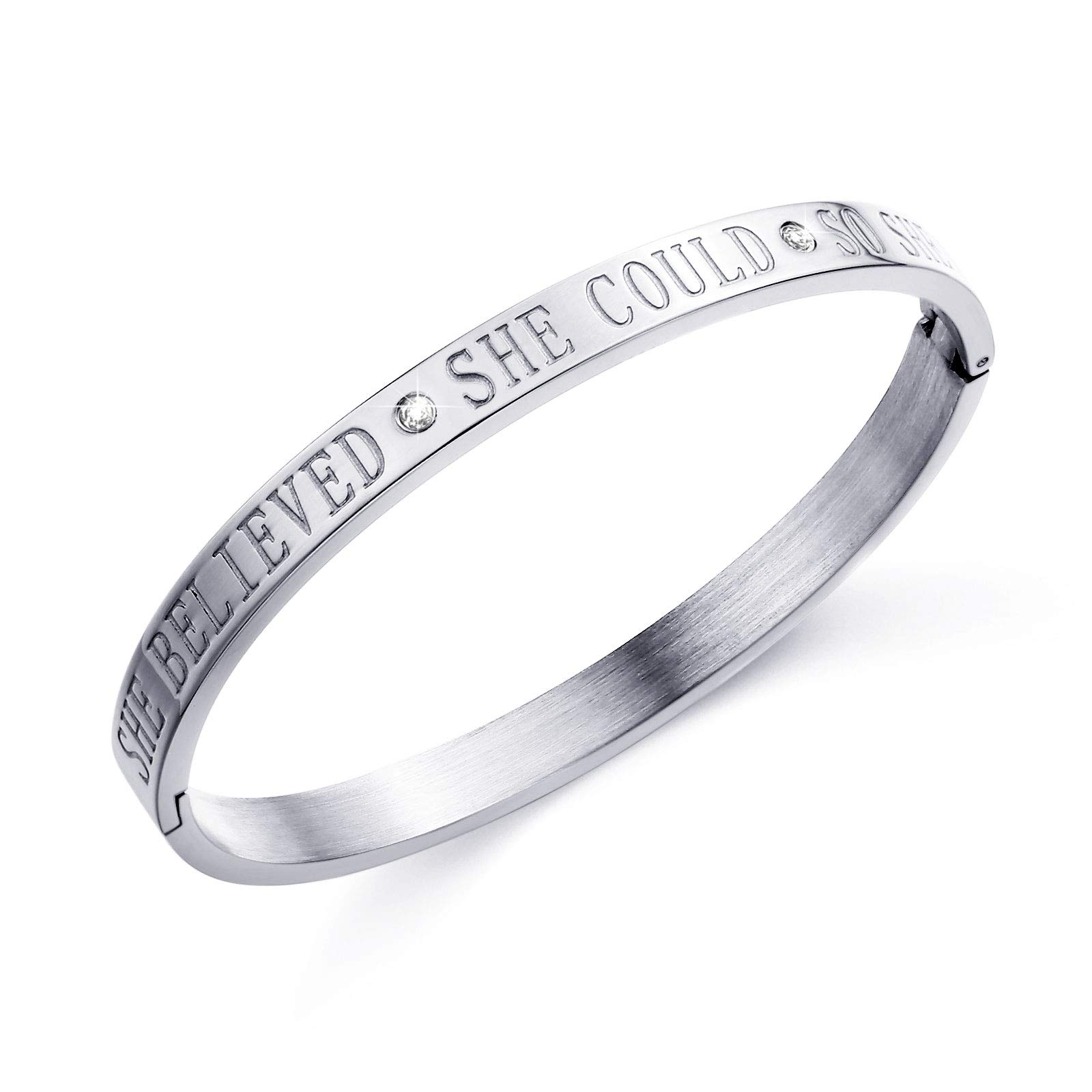 Fullrainbow Diamond Inspirational Bangle Bracelets for Women Teens Silver Engraved Cuff Bracelet She Believed She Could So She Did (Silver)