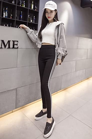 6c826d7a6 Amazon.com: Autumn and winter outer wear black leggings woman was thin  Korean series hole stretch pantyhose feet pants fashion thin section for women  girl: ...