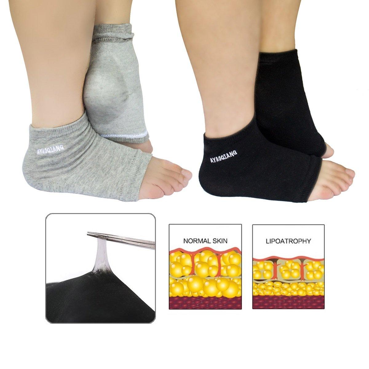 AYAOQIANG Gel Heel Socks Open Toe Socks for Dry Hard Cracked Skin Moisturizing Day Night Care Skin,Gel to Heal Dry Cracked Heels -2 Pair(Black and Grey)