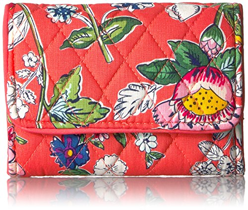 Vera Bradley Women's RFID Riley Compact Wallet-Signature, Coral Floral, One Size