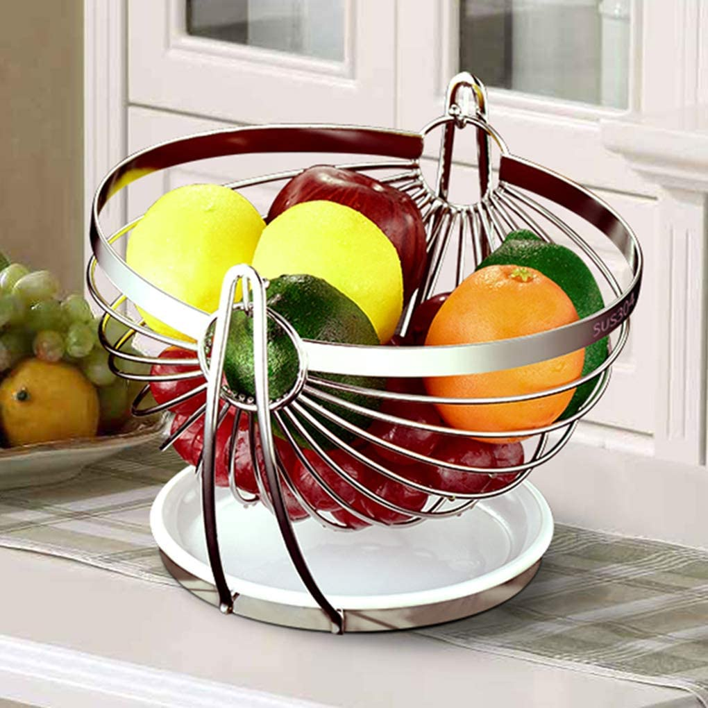 Einfache Obstschale Kreative Obstschale Couchtisch Obstk/örbe f/ür K/üche Edelstahl 25cm K/üche