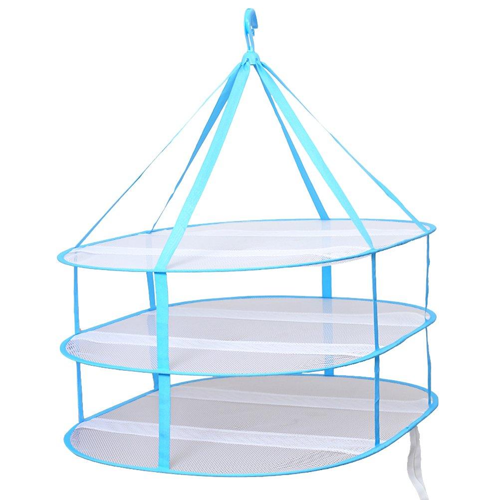 VORCOOL Suspendu Pull Sèche-linge 3 Tier Pliant Mesh Vêtements de séchage panier à linge panier sèche-linge (bleu)