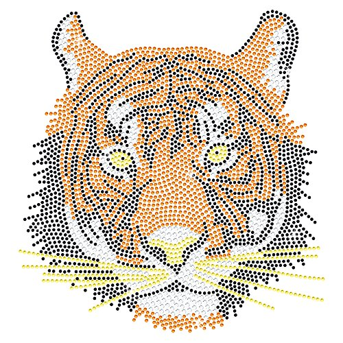 Twisted Envy Tigers Head Diamante Transfer Iron On Hotfix Gem Crystal T-Shirt Motif