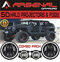 #1 7 Inch Round Halo Projectors and Halo Fog Lights 60W Cree Headlights White Halo Angel Eyes+Amber Turning Signal Lights 30w Halo LED Fogs Jeep Wrangler JK TJ Unlimited Sahara Rubicon (Combo Pack)