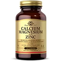 Solgar Calcium Magnesium Plus Zinc, 100 Tablets - Promotes Healthy Bones and Teeth - Supports Nerve & Muscle Function - Non GMO, Vegan, Gluten Free, Dairy Free, Kosher, Halal - 33 Servings