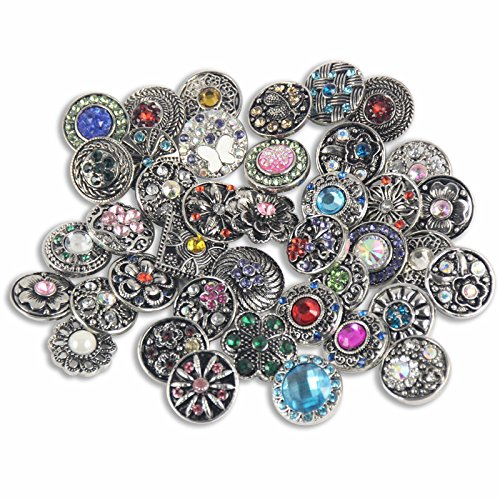 Soleebee Mixed 12mm Alloy Rhinestones Snap Buttons Jewelry Charms DIY Accessories (Pack of 30)]()