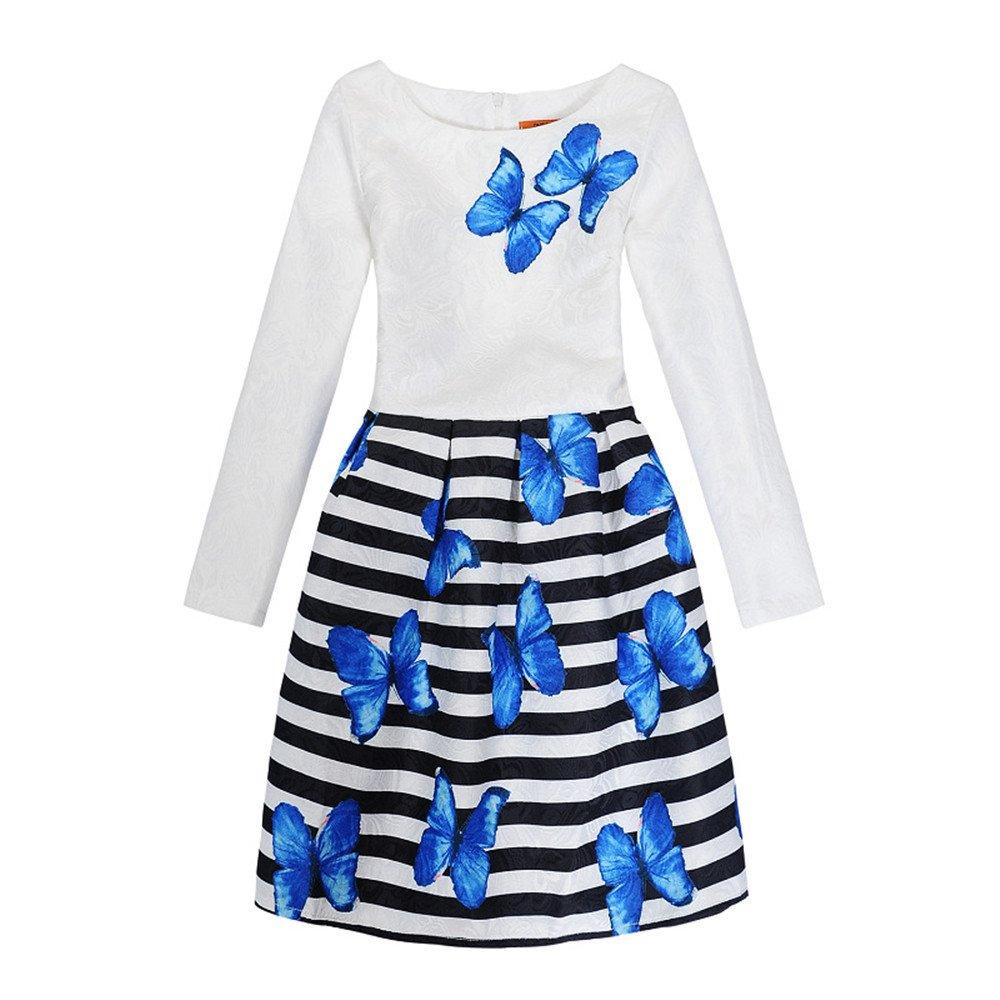 FOURSTEEDS Girls Retro Bodycon Jacquard O-Neck Long Sleeve Print Pleated Mini Travel Dress Long Sleeve14 US 6-7 Years/Tag Size Girl-130