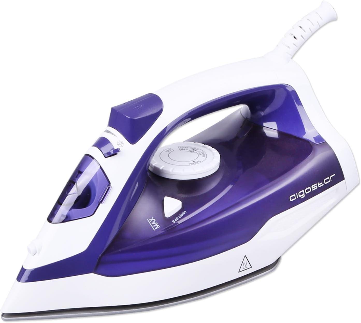 Aigostar 31HGC-Plancha de vapor de suela cerámica antiadherente, 2200W, control de vapor variable, sistema antigoteo y función de autolimpieza. Depósito de 370 ml y color violeta. Diseño Exclusivo.