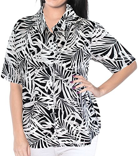 La Leela LA LEELA Cotton Hawaiian Cruise Tunics Camp Shirt Black 186|L - US 38 - 40D price tips cheap