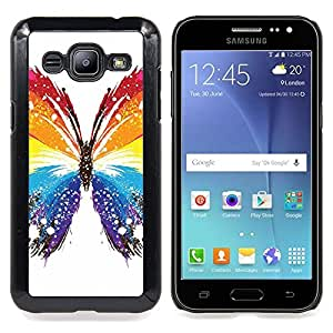 "Qstar Arte & diseño plástico duro Fundas Cover Cubre Hard Case Cover para Samsung Galaxy J2 / J200 (Mariposa Colores"")"