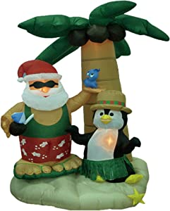 7 Foot Christmas Inflatable Santa Claus and Penguin with Palm Tree Yard Decoration Lights Decor Outdoor Indoor Holiday Decorations, Blow up Lighted Yard Decor, Lawn Inflatables Home Family Outside