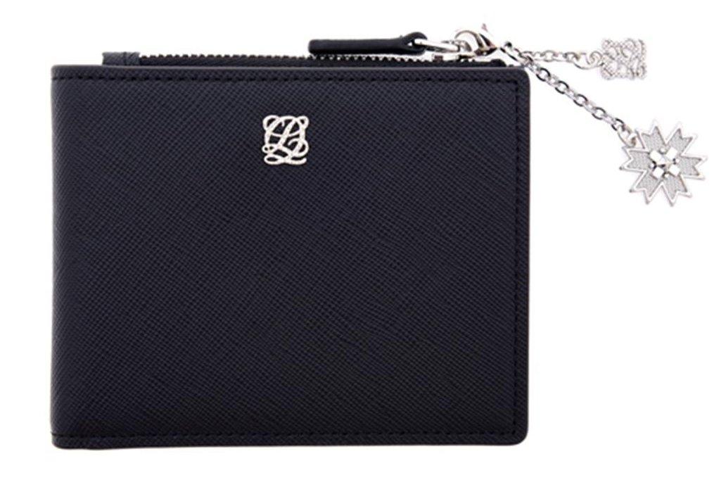 LQ LOUIS QUATORZE Small Slim Black Flap Leather Bifold Women's Wallet with Zipper Coin Pocket SK3AL07BL One Size Black