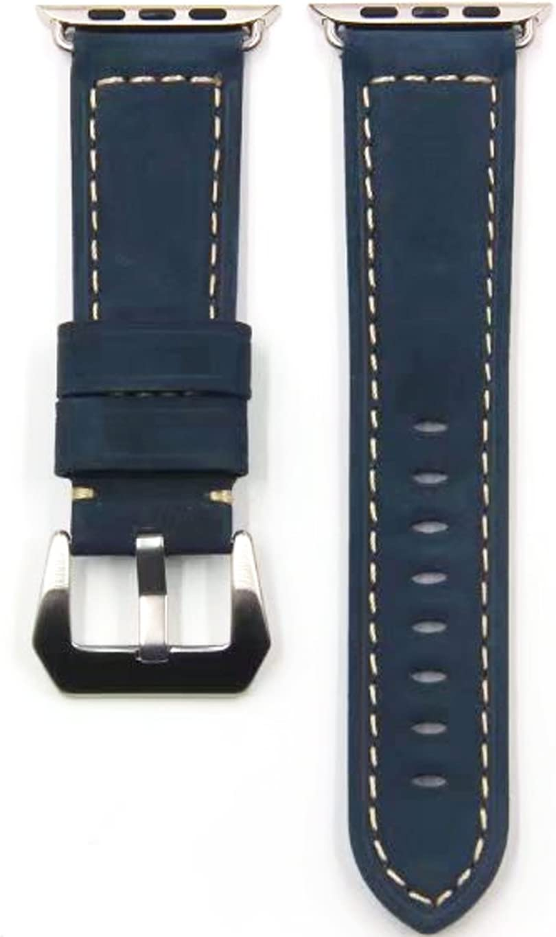 Jusinhel Compatible with Apple Watch Band 38mm 40mm Retro Matte Touch with Genuine Leather Strap Replacement for iWatch Series 3 Series 2 Series 1 Sport, Edition - Blue 38mm 40mm