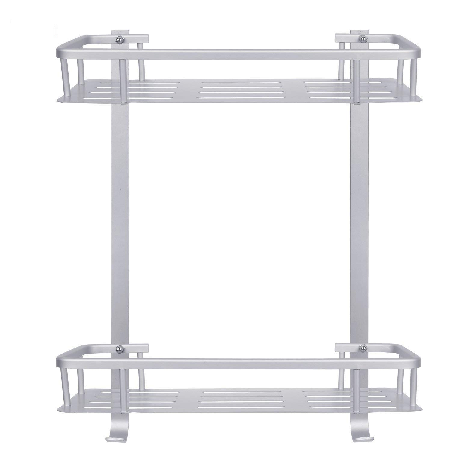 [Upgraded] Bathroom Shower Shelf, Metplus No Drilling Adhesive Never Rust Space Aluminum Corner Storage Shelves 2 Tiers Wall Mounted Storage Basket Shower Caddy Space Saver for Bathroom Toilet Kitchen