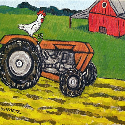 Chicken Hen Rooster tractor farm animal art tile coaster gift (& Hen Rooster Coasters)