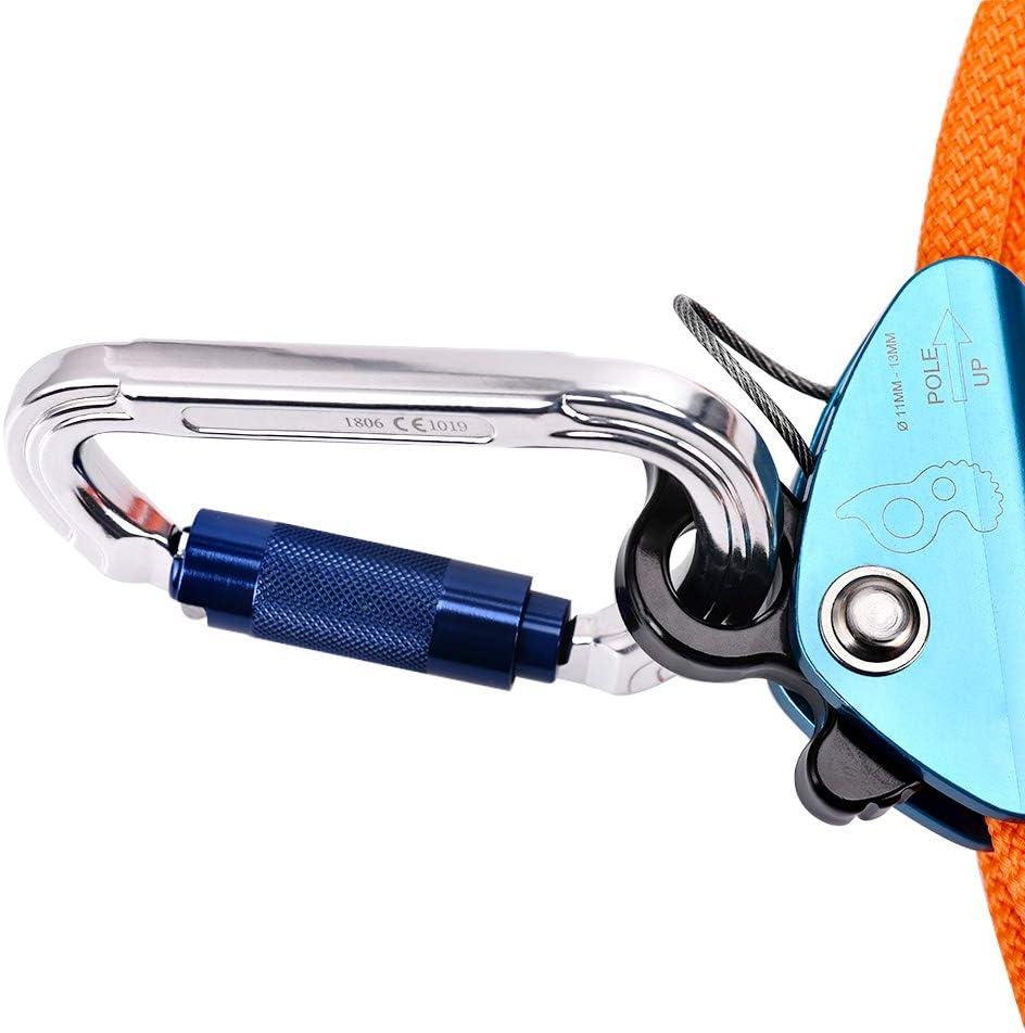 TOPQSC Cuerda de Escalada Kits de Línea Tirón Núcleo Alambre de Acero con Mosquetón Ajustador Cuerda Duradera Seguridad Multifuncional para ...