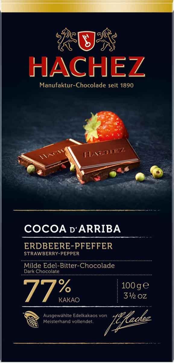 Hachez Cocoa D' Arriba Chocolate Bar, Strawberry Pepper, 3.5 Ounce