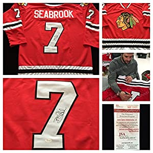 Brent Seabrook Chicago Blackhawks Signed Autograph Red Hockey Jersey. JSA COA