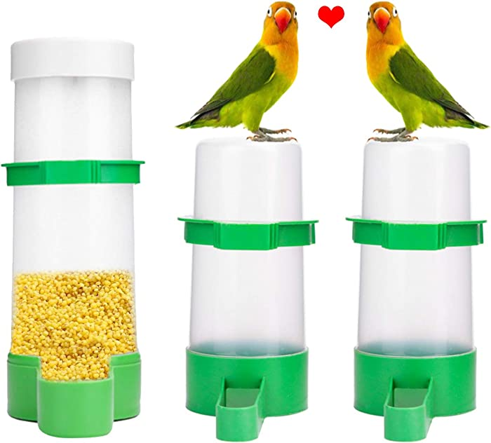 XISTEST Bird Water Feeder, 2PCS Bird Water Bowl with 1PCS Food Feeder for Pet Parrot and Other Birds Budgie Lovebirds Cockatiel Cage