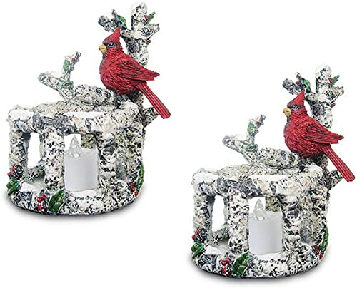 BANBERRY DESIGNS Cardinal LED Candle Holders – Set of 2 Red Cardinals Sitting on Birch Branches with 2 White Flameless Tealight Candles Included – Cardinal Decorations