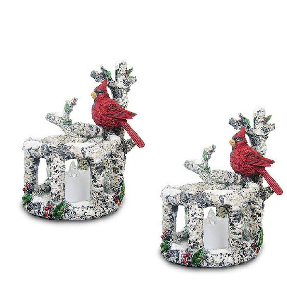 Banberry Designs Cardinal Candle Holders - Set of 2 Red Cardinals Sitting on Birch Branches with 2 White Flameless Tealight Candles Included - Cardinal Decorations by Banberry Designs
