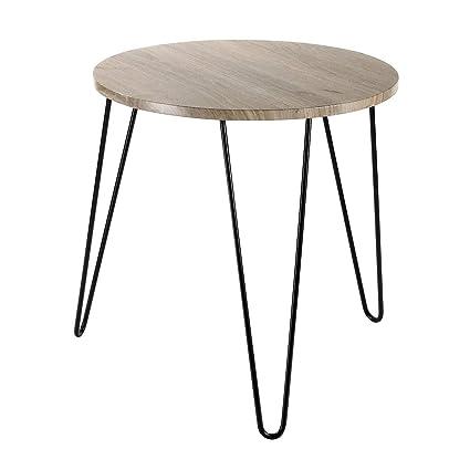 Table Basse Bois Pied Metal.Casame Table Basse Ronde En Bois Pieds Metal