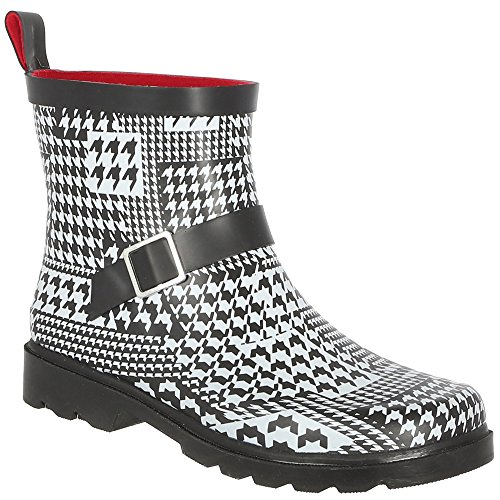 Capelli New York Ladies Houndstooth Printed Short Rain Boot White Combo 8