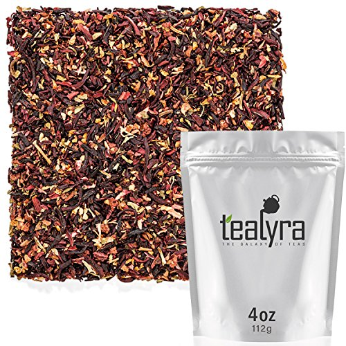 Tealyra - Strawberry Hibiscus Sangria - Apple Orange Mint - Herbal Fruity Loose Leaf Tea Blend - Caffeine-Free - Vitamin Rich - Hot or Iced - 112g ()