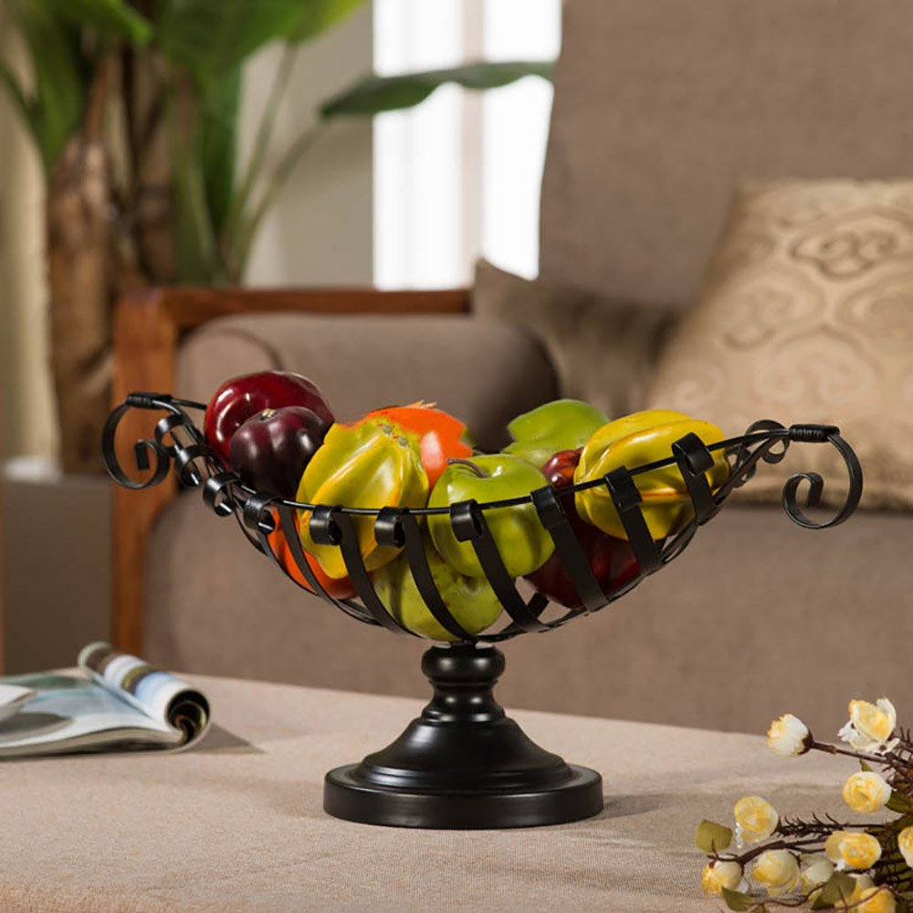 Comport Kitchen Fruit Basket Living Room Dim Sum Tray Wrought Iron Black (502618cm) by JANSUDY (Image #2)