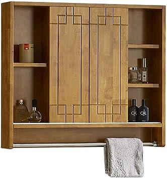XCJJ Mueble de espejo para baño, botiquín de pared con barra para toallas, armario de madera maciza, puerta corrediza,Color roble,Los 80CM: Amazon.es: Bricolaje y herramientas