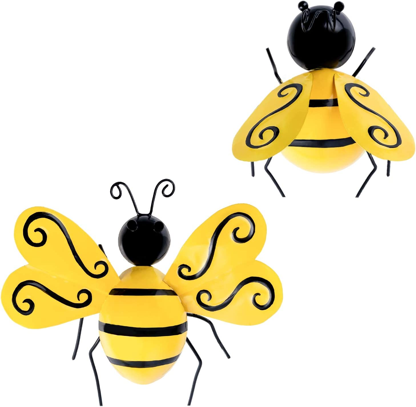 YEAHOME Cute Bees Metal Wall Art, 3D Wall Decor, Vibrant Yellow Wall Sculptures & Statues for Farmhouse, Porch, Patio, Lawn, Fence, Backyard Set of 2