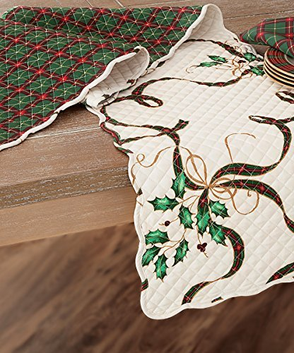 Lenox Holiday Nouveau Quilted Reversible Table Runner 14 X 70 (Nouveau Centerpiece)