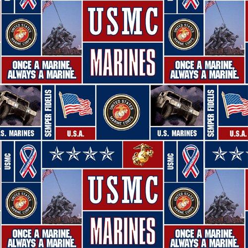 Military Fleece U.S. Marines Blocks Multi Fabric By The (Military Fleece Fabric)