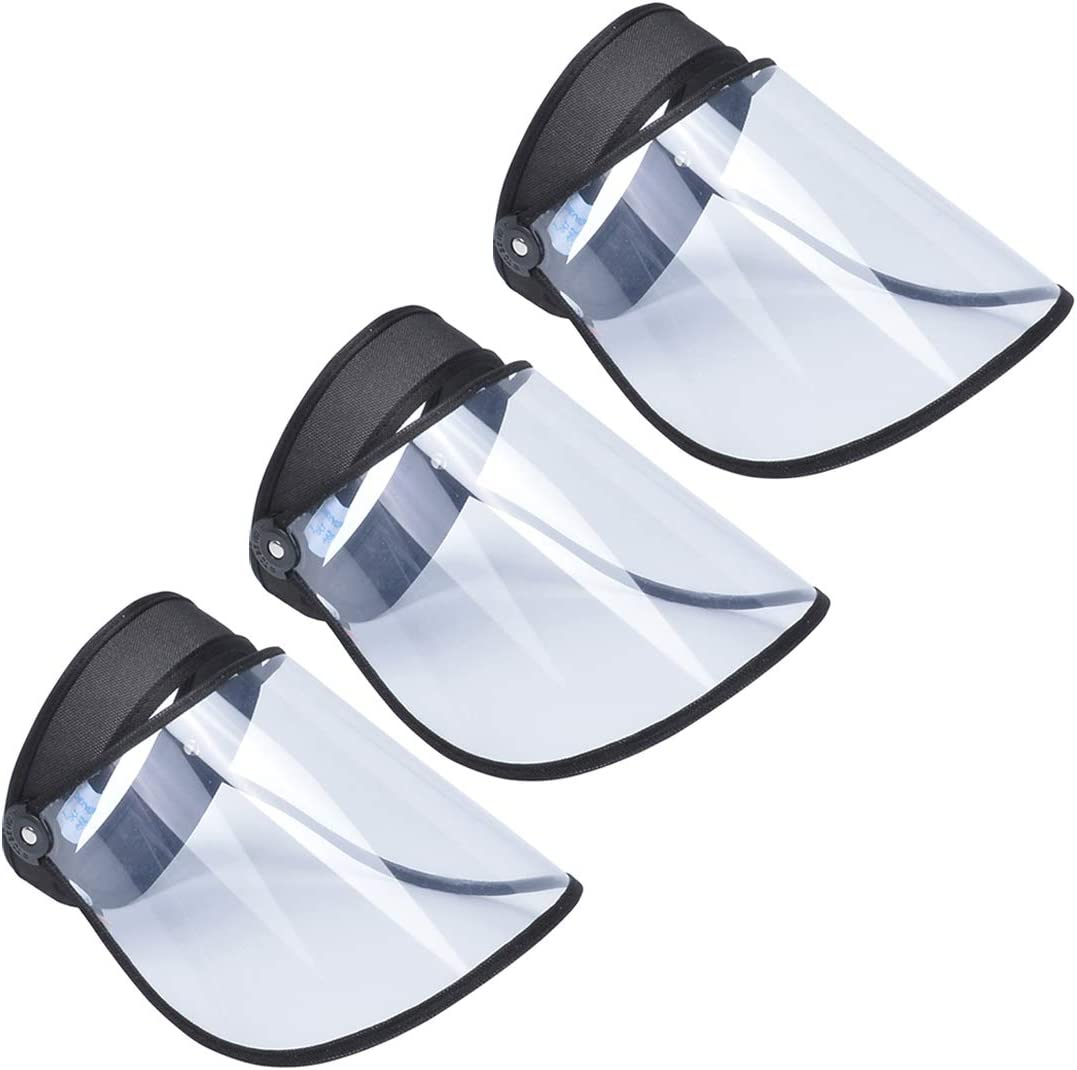 AIEOE Transparente Protector Facial a Prueba de Viento Ajustable Escudo de Cara Completa Antipolvo Plegable Visera Protectora Pack de 2