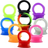 9 Pair Silicone Flexible Thin Ear Plugs Tunnels Double Flared Expander Ear Gauges Piercing