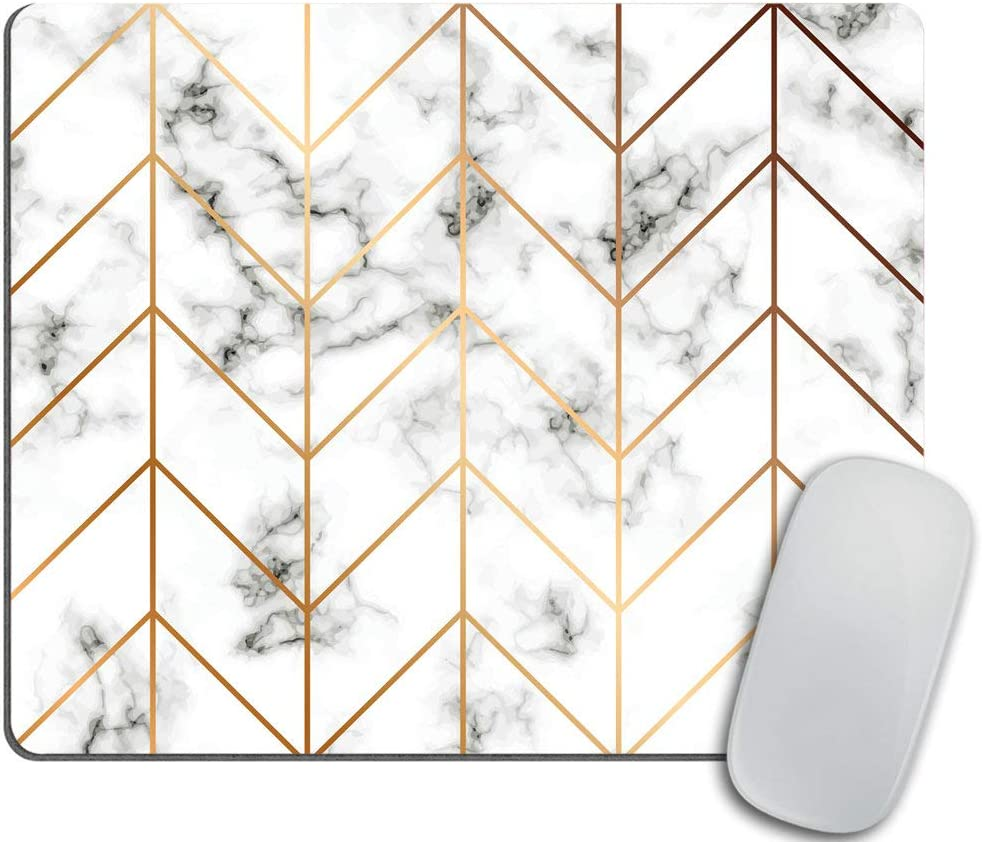 Marble Texture Mouse pad, Golden Geometric Lines Mousepad, Black and White marbling Surface Mouse pad