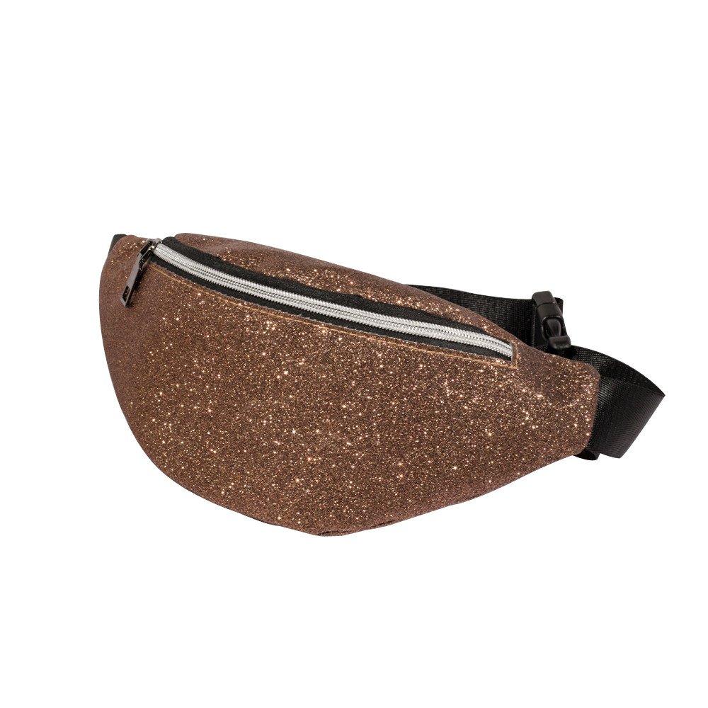 Brown ❤️ Sunbona Waist Packs for Women Bling Sequins Shoulder Bag Messenger Bag Chest Bag Adjustable Strap Walking Travel