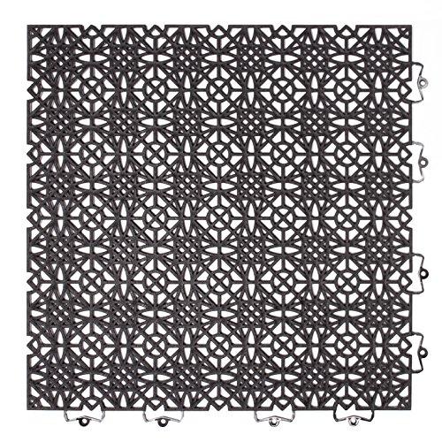 Andiamo 202404 Kunststofffliese / Bodenfliese 38 x 38 cm, Set: Bestehend aus 7 Fliesen 1 m², schwarz