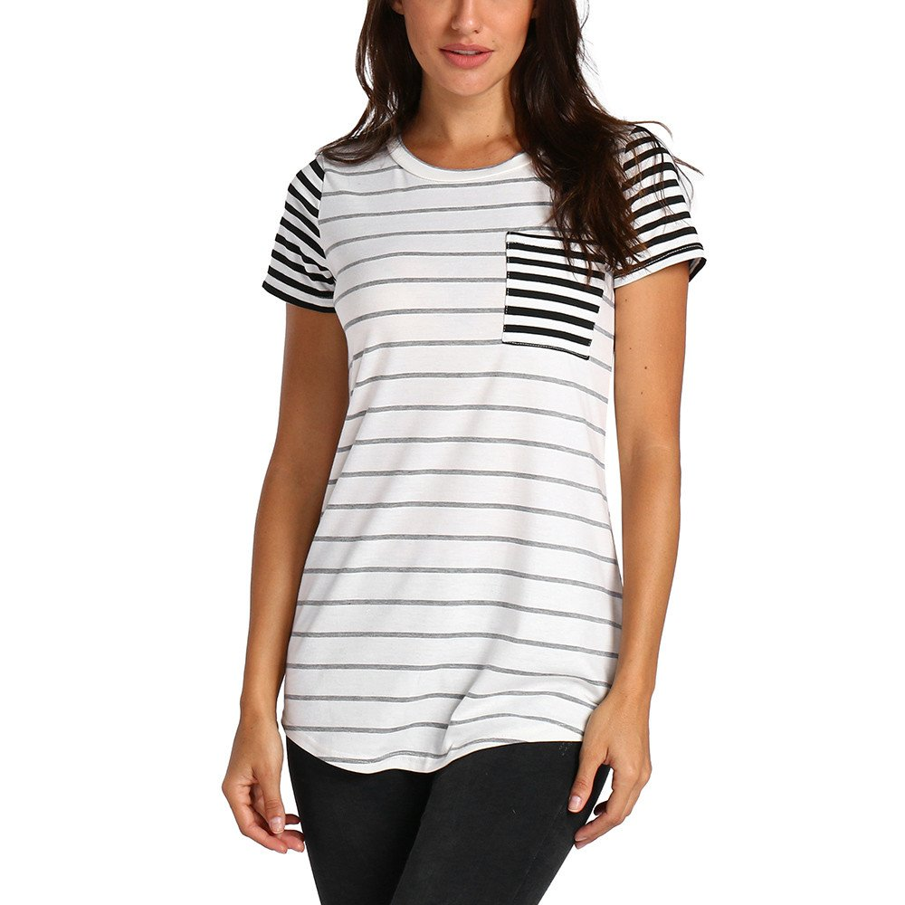 Libermall Women's Casual Short Sleeve T-Shirts Striped Patchwork with Pocket Loose Tunic Shirt Blouse Tops White
